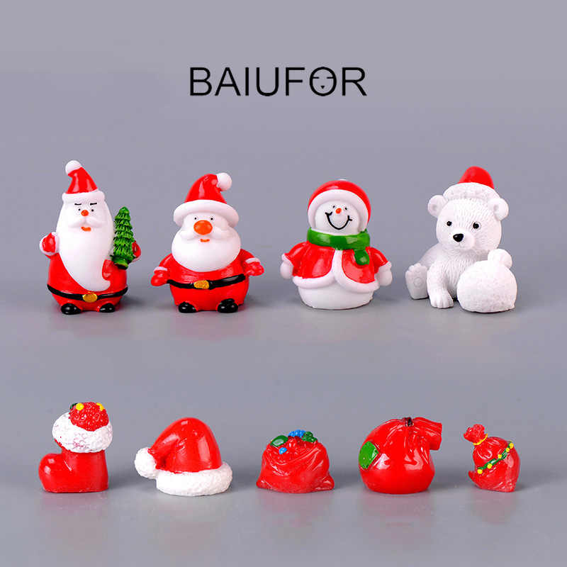 BAIUFOR NEW Christmas Miniatures Santa Claus Snowmen DIY Terrarium Accessories Fairy Garden Figurines Doll House Decor