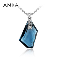 ANKA Gennuine Crystal Drop Pendant Necklace Real Sterling Jewelry for women 2017 Main Stone Crystals from Swarovski #79148(China)
