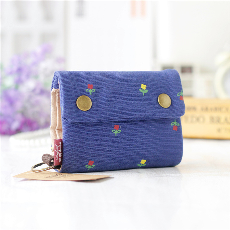▻Canvas floral printing women credit card ID holder bags business ...