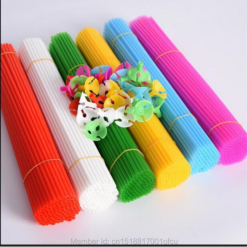 100 pcs /set  32cm plastic Balloon Stick/Pole and cup for latex balloon white black pink green red blue yellow balloon Sticks