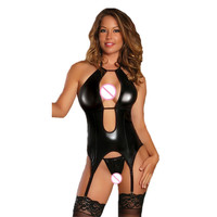 M 4XL Plus Size Lingerie Sexy Hot Erotic Underwear For Women Leather Latex Babydoll Pole Dance
