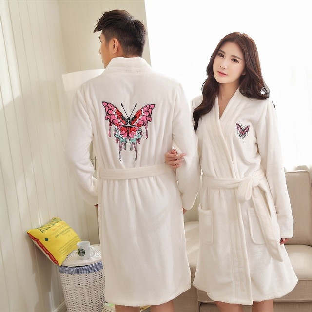couples winter Flannel gowns set men coral fleece robes women autumn bathrobe  thicker warm home clothing butterfly embroidery 2e2c9073f