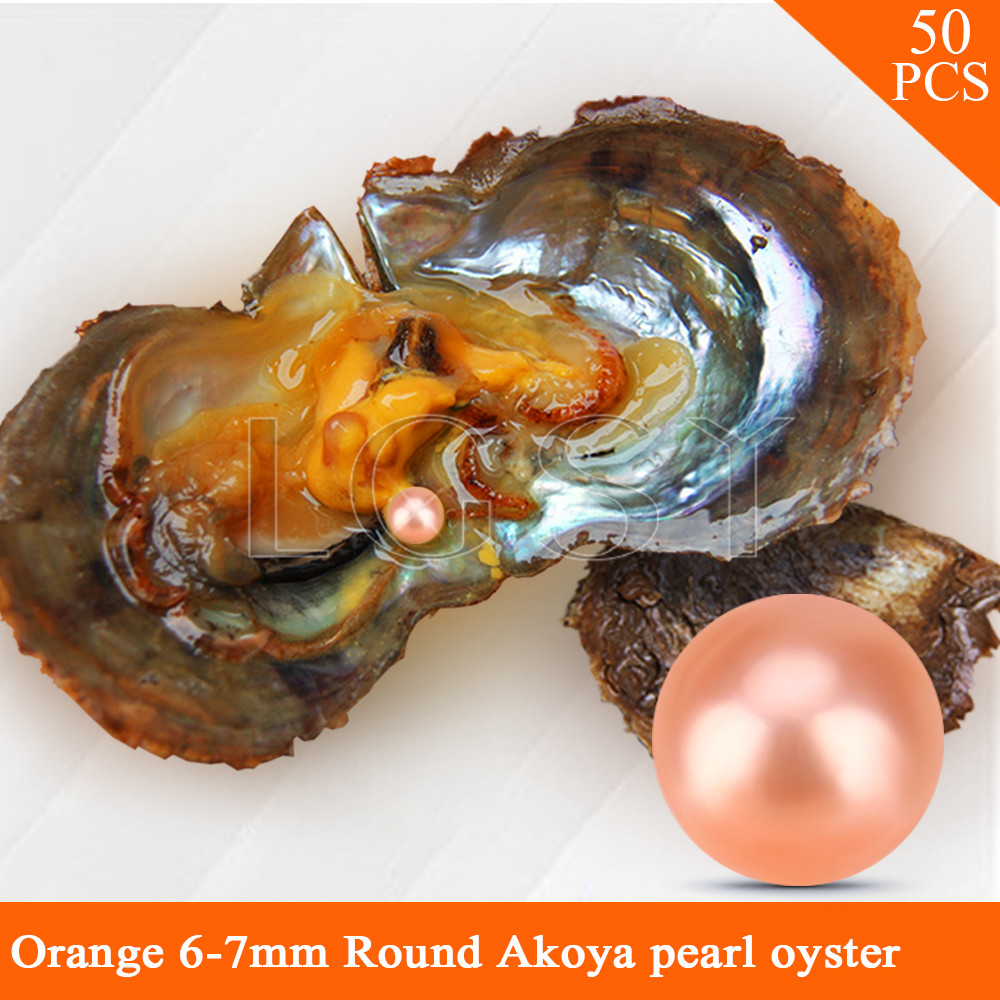 LGSY wholesale Orange color beads 50pcs vacuum-packed oysters with 6-7mm round akoya pearls cluci free shipping get 40 pearls from 20pcs 6 7mm aaa blue round akoya oysters twins pearls in one oysters