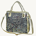 2017 fashion brand luxury bag designer handbags high quality gold diamante woven denim bags