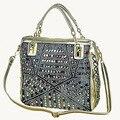 2017 marca de moda de lujo bolsos de diseño de alta calidad de oro diamante tejido bolsas de mezclilla