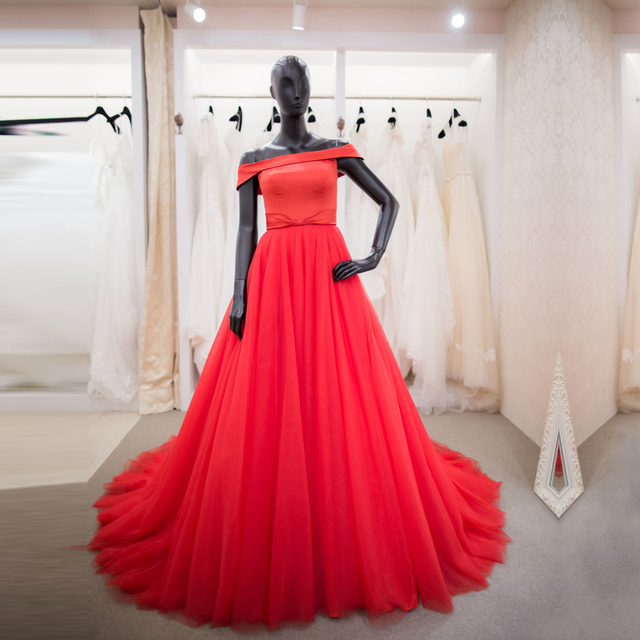 9324adce3 صور حقيقية بسيطة الأحمر فساتين سهرة 2017 طويل الأزياء زائد حجم قبالة الكتف فساتين  السهرة الرسمية