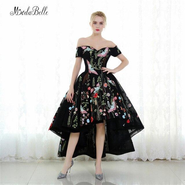 2b341aaa45837c Modabelle Arabische Stijl Korte Voor Lange Terug Avondjurken Zwarte Formele  Gown Bloemen Hoge Lage Jurk Prom