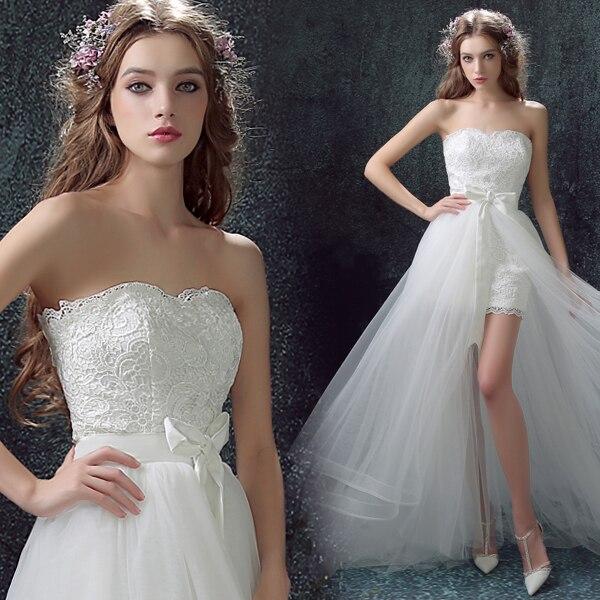 Personality Fashion Front Short and Long Back Detachable Train Bridesmaid Dress 622