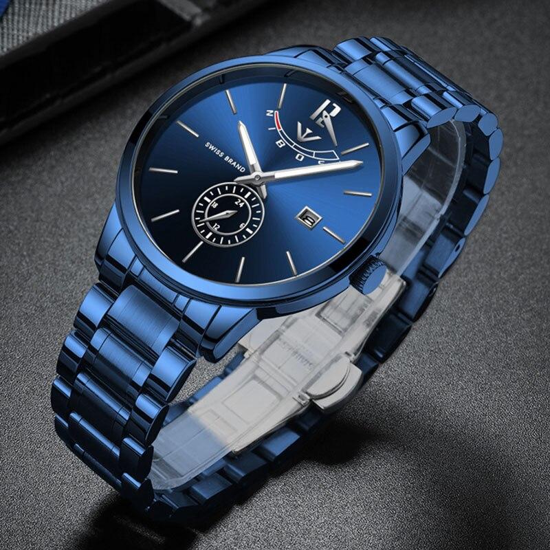 NIBOSI montre pour hommes de luxe bleu Quartz étanche montre pour homme horloge hommes montres poignet hommes montres Top marque de luxe 2019