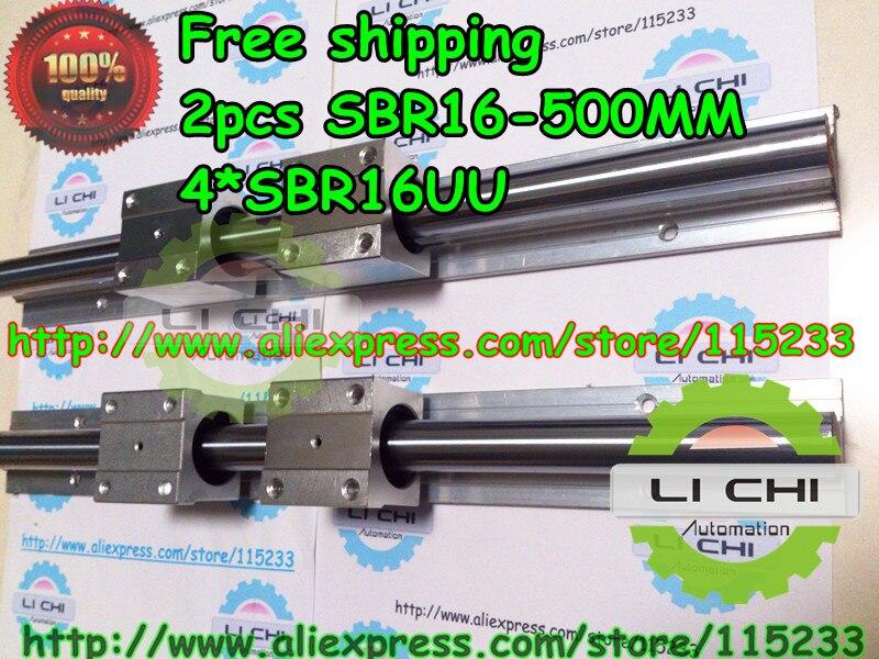 ФОТО Best price Top : 2pcs SBR16  L500mm Linear Bearing Rails + 4pcs SBR16UU Linear Motion Bearing Blocks (can be cut any length)