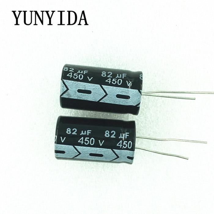 2PCS  82uf 450V  Aluminum Electrolytic Capacitor  18*30mm