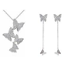 XIYANIKE 925 Sterling Silver nowy koreański styl Vintage biżuteria motyl zestawy długie kolczyki Tassel łańcuch navecle dla kobiet NE + EA