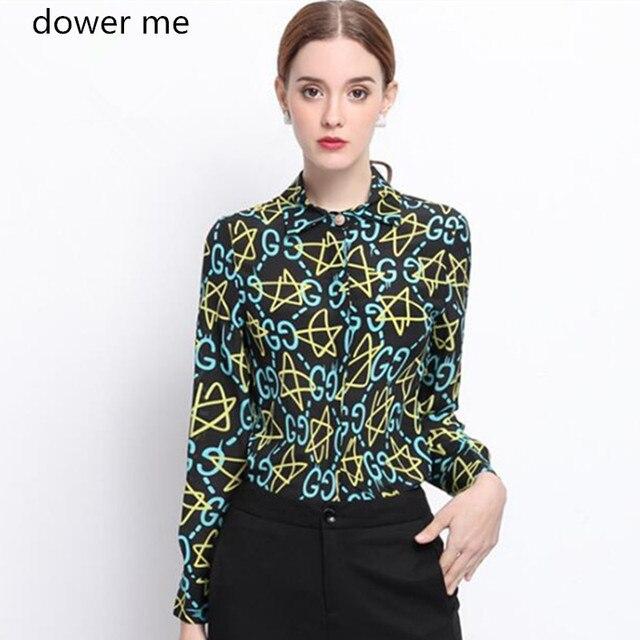 Dower Me Женщины Подиум Топ Блузка 2017 Новое Прибытие С Длинным Рукавом Печати Шелковая Рубашка Camisa Mujer