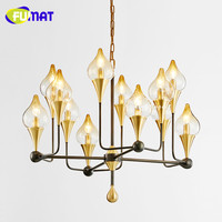 FUMAT New Modern Metal Glass Flower Buds Chandeliers Designer Glass Lampshade Luster LED Pendant Chandeliers Lamp