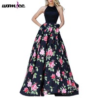 Fashion 2016 Spring Summer Autumn Women Halterneck Floral Printed Baclkess Vintage Sexy Prom Ball Party Long