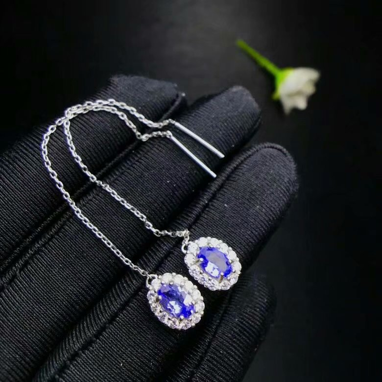 shilovem 925 silver sterling natural tanzanite Earrings trendy fine Jewelry women 4 6mm new gift xhfe040602agts
