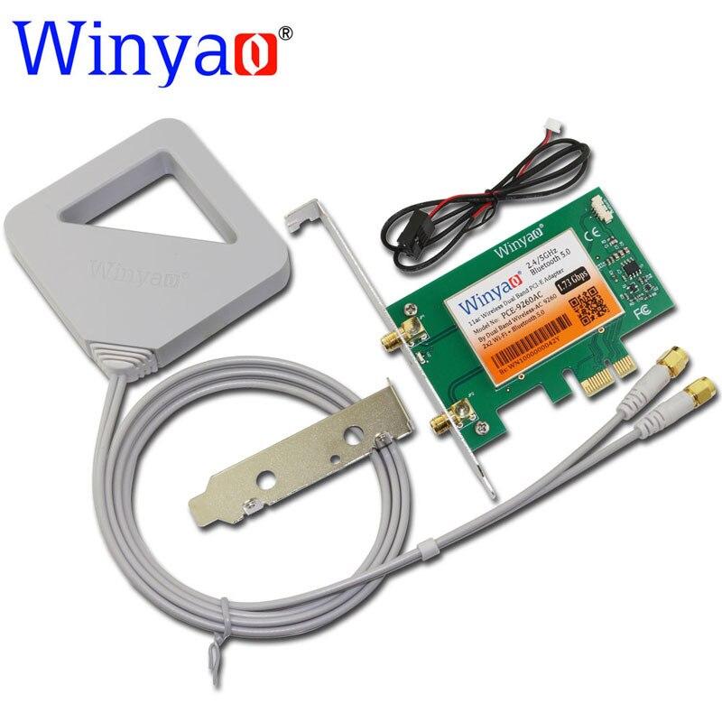 Winyao PCE-9260AC Desktop Dual Band PCI-Express X1 WiFi Adapter 9260NGW 1.73Gbps Wireless PCI-E with Bluetooth 5.0 BT 802.11ac
