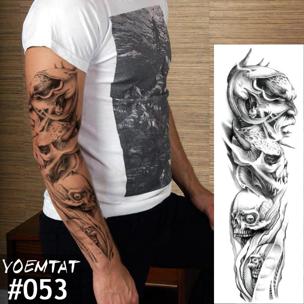 New 1 Piece Temporary Tattoo Sticker Skull Full Flower Tattoo With Arm Body Art Big Large Fake Tattoo Sticker