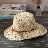 Verano Nuevo tamaño Ajustable Plegable del Sombrero Del Sol Del Bowknot Cinta Del Sombrero de Paja de la Playa Caps sombrero de los Viajes Ocasionales de aa0097