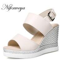 Большие размеры 33–43 Летняя женская обувь модные открытый носок платформы клинья Обувь на высоком каблуке Повседневное Туфли с ремешком и п...