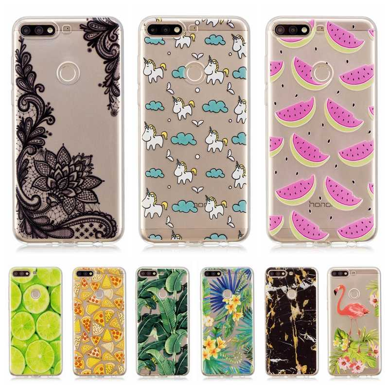 honor 7C Silicone Case on For Huawei Y7 prime 2018 Case Watermelon Flamingo  Phone Cases For Coque Huawei honor 7C Pro Case Cover
