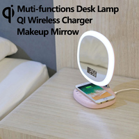 QI Wireless charger Muti functions Vanity Lights Makeup Mirror Lamp Touch Sensor Switch Led Alarm Clock Display
