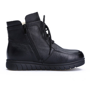Image 4 - MORAZORA 2020 hot sale soft leather Motorcycle Boots women lace up warm snow boots zip flat shoes ladies ankle boots winter