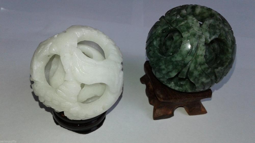 Chinese Jade 58mm White & Green Magic Puzzle Balls + Stands.