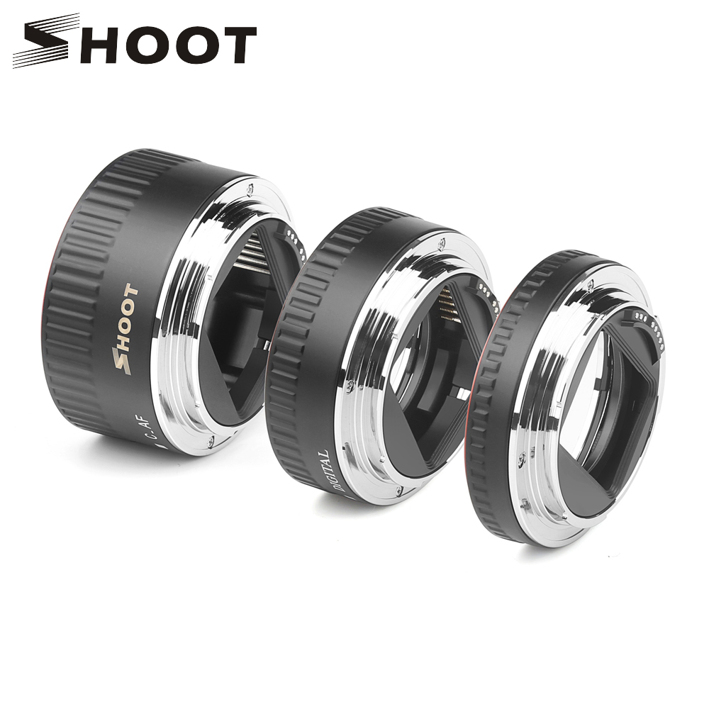 SHOOT Red Metal TTL Auto Focus Macro Extension Tube Ring For Canon 600D 550D 200D 800D EOS EF EF-S 6D For Canon Camera Accessory