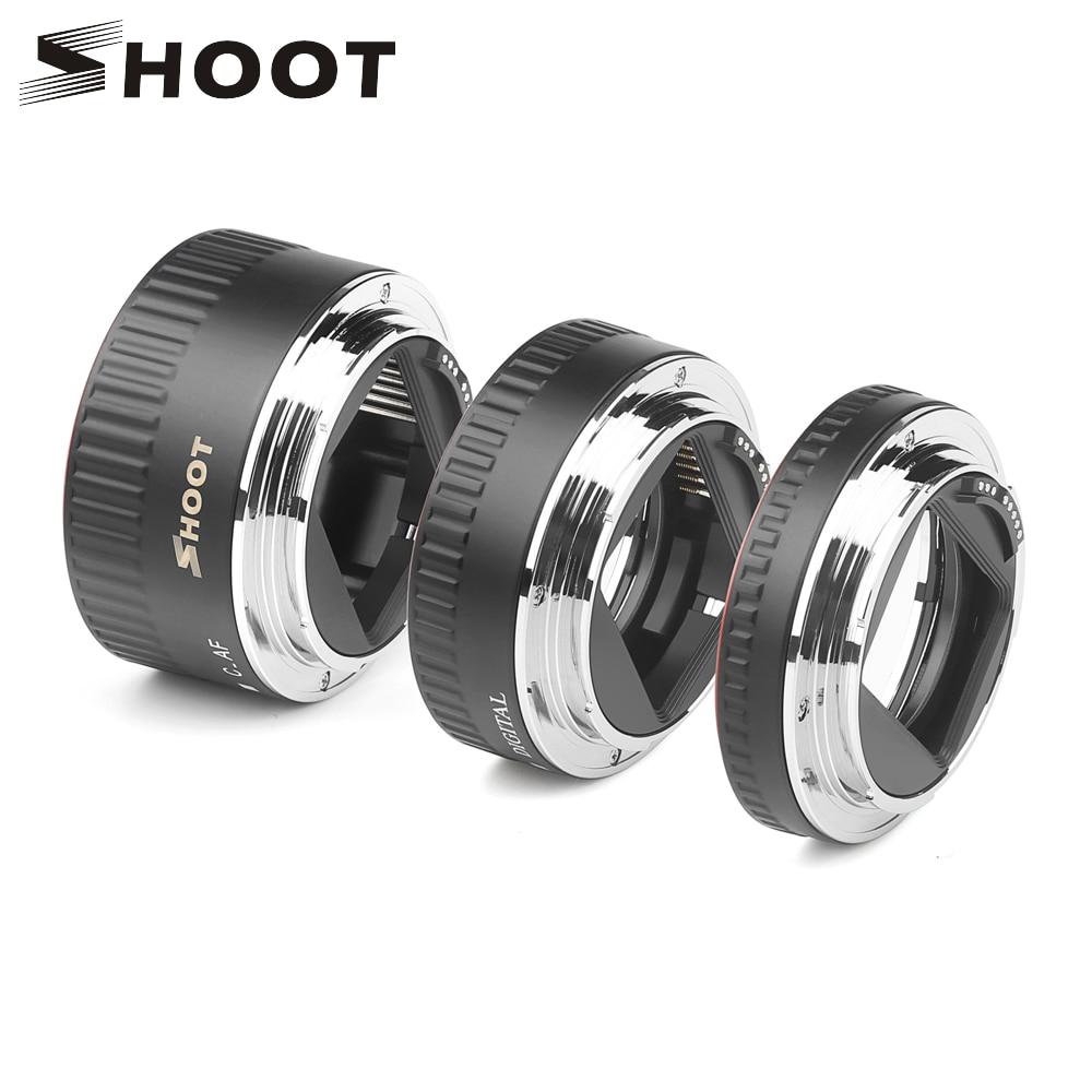 SHOOT Red Metal TTL Auto Focus Macro Extension Tube Ring For Canon 600D 550D 200D 800D EOS EF EF-S 6D For Canon Camera Accessory