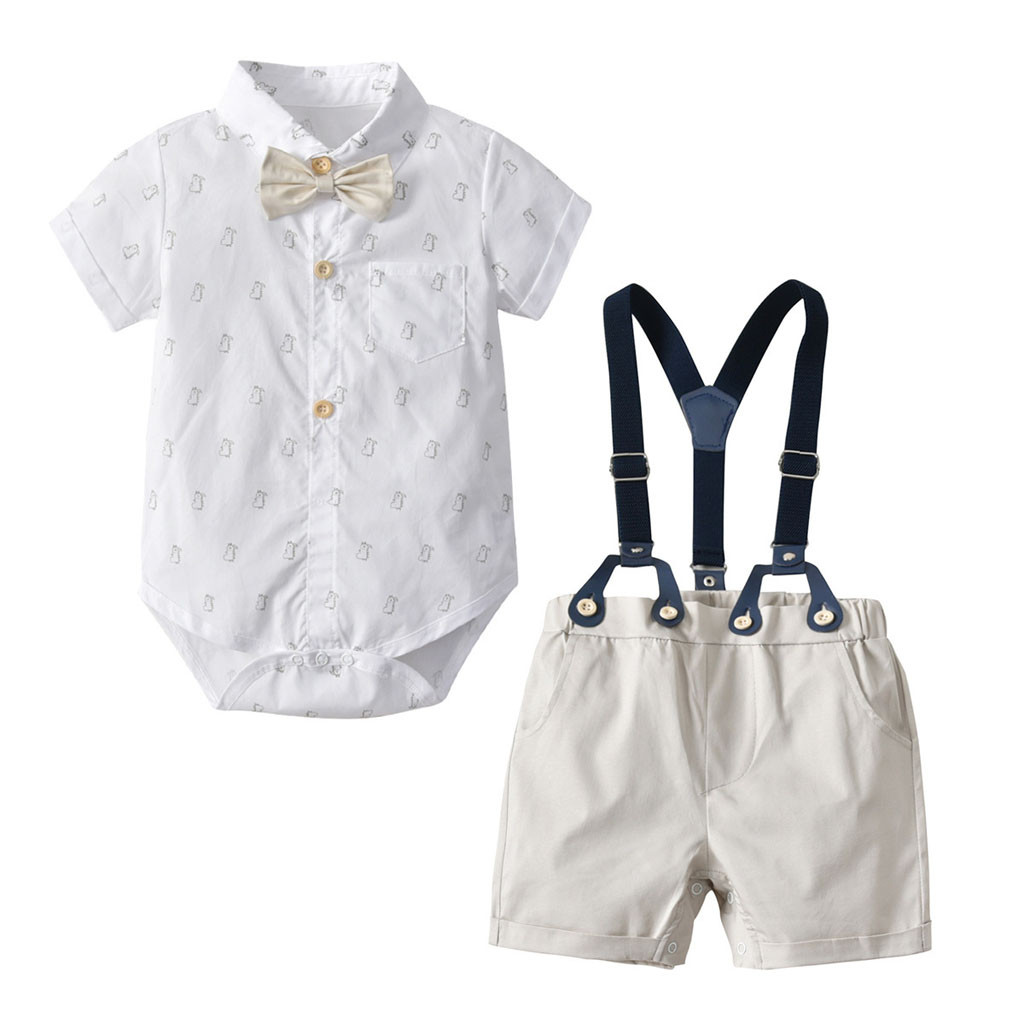 Boys Summer Gentleman Bow Tie Short Sleeve Shirt+Stylish Suspenders Shorts WARMSHOP Suit Set