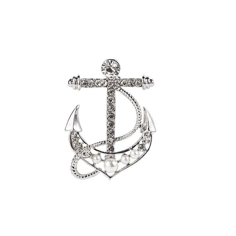 2019 Baru Angkatan Laut Kemudi Jangkar Bros Rhinestone Bros Jas Kerah Kemeja Kerah Pin Lencana Perhiasan Aksesoris untuk Pria
