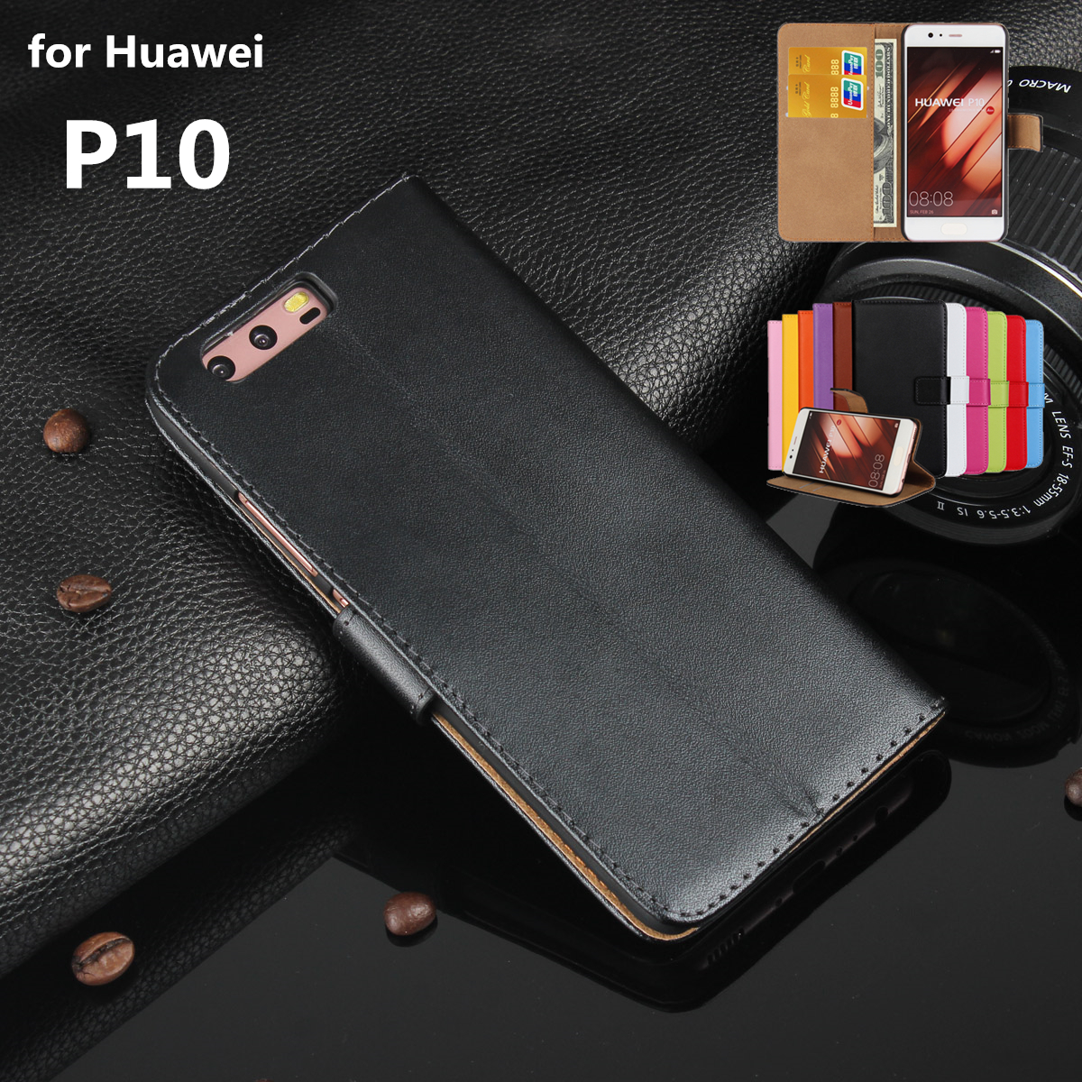 Premium Leather Flip Cover Luxury Wallet Phone Case For Huawei Ascend P10 Card Holder Holster Phone Shell For Huawei P10 GG