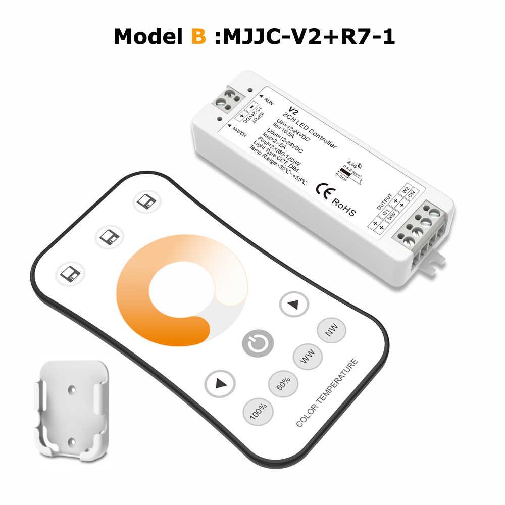 WW CW Светодиодный контроллер 12V 24V 10A 2CH 2,4 г Одиночная Цвет CCT светильник полосы светодиодный диммер контроллер RF Беспроводной пульт дистанционного управления с держателем V2