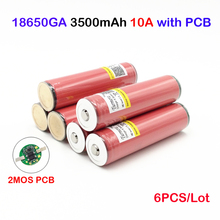 Original ncr18650ga 3500mah for sanyo ncr18650ga protected 3.6V 10A Flat Top Rechargeable Batteries 18650 Battery for flashlight