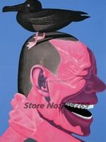Ręcznie malowane Słynny Malarz Yue Minjun Hip Hop Uśmiechnięta Twarz kaczka Płótnie Nowoczesny Wystrój Streszczenie Pop Art Ścienne Obraz Olejny 25