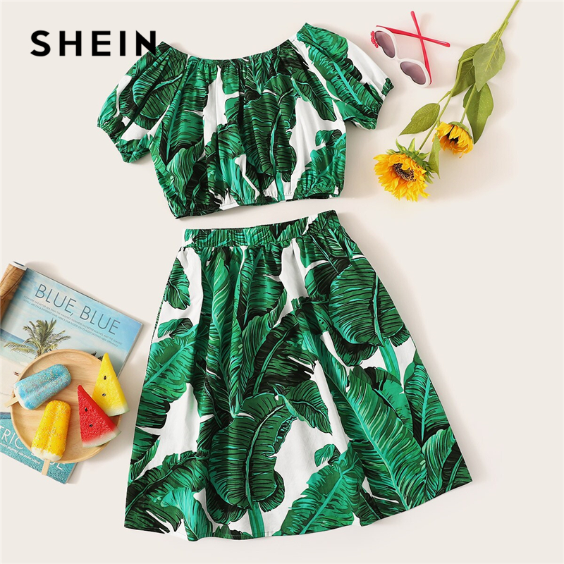 SHEIN Kiddie Girls Green Scoop Neck Tropical Print Crop Blouse And Skirt Beach Suit Set 2019 Summer Vacation Boho Kids Outfits scoop neck ruffle trim bodysuit