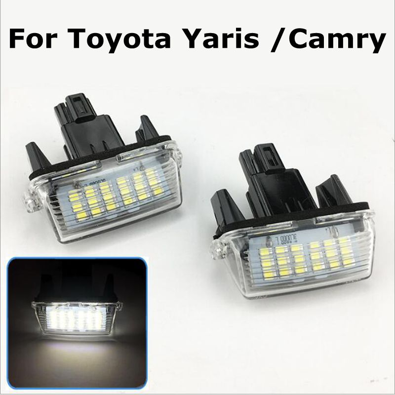 2pcs <font><b>12V</b></font> <font><b>18</b></font> LED 6000k Car LED <font><b>Bulb</b></font> License Plate Light Parking Lamp Car External Lights for Toyota Camry Yaris ME3L image