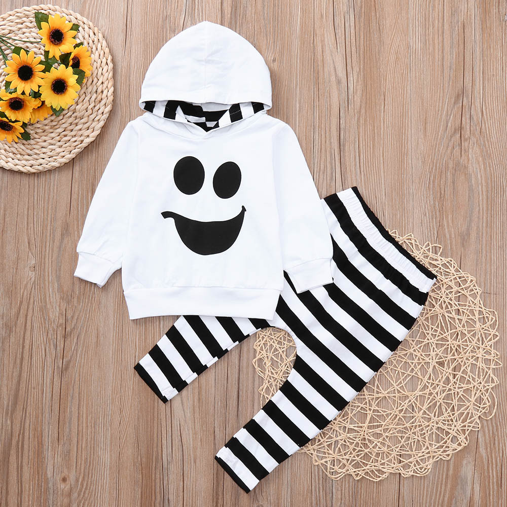 e55e4459068a3 MUQGEW Toddler Baby Boys Girls Hooded Tops Pullover Striped Pants Halloween  Outfits Set vetement bebe garcon KM807-in Clothing Sets from Mother   Kids  on ...