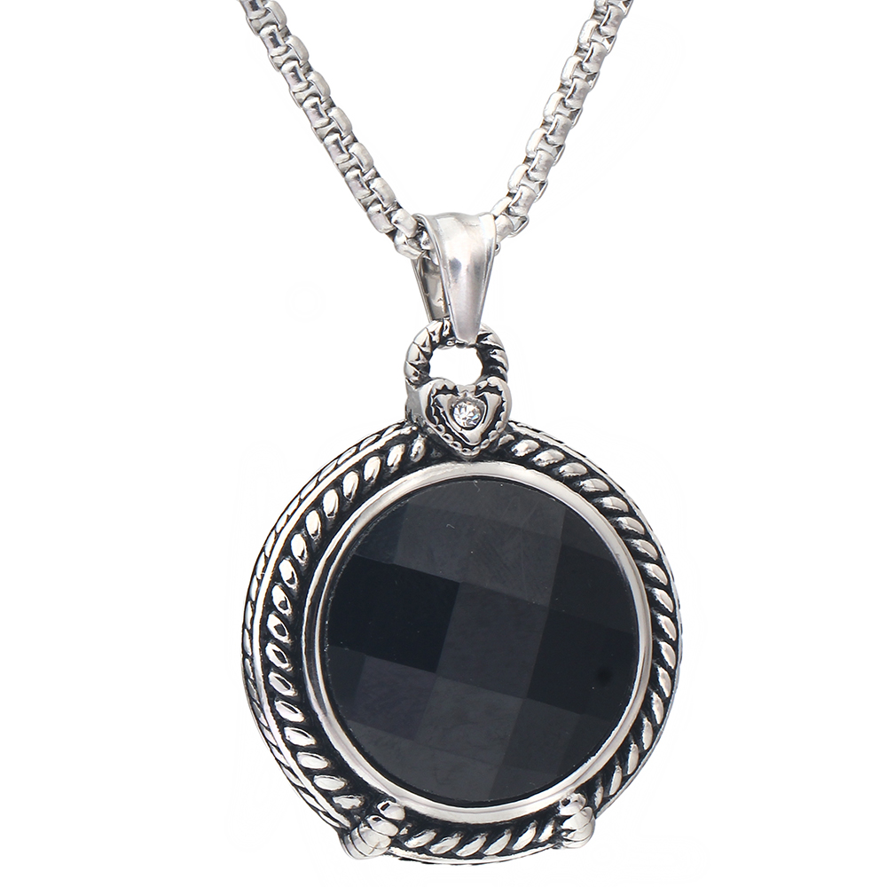 gothic vintage Black Glass Pendant necklace punk stainless steel jewellery 2016 new gift