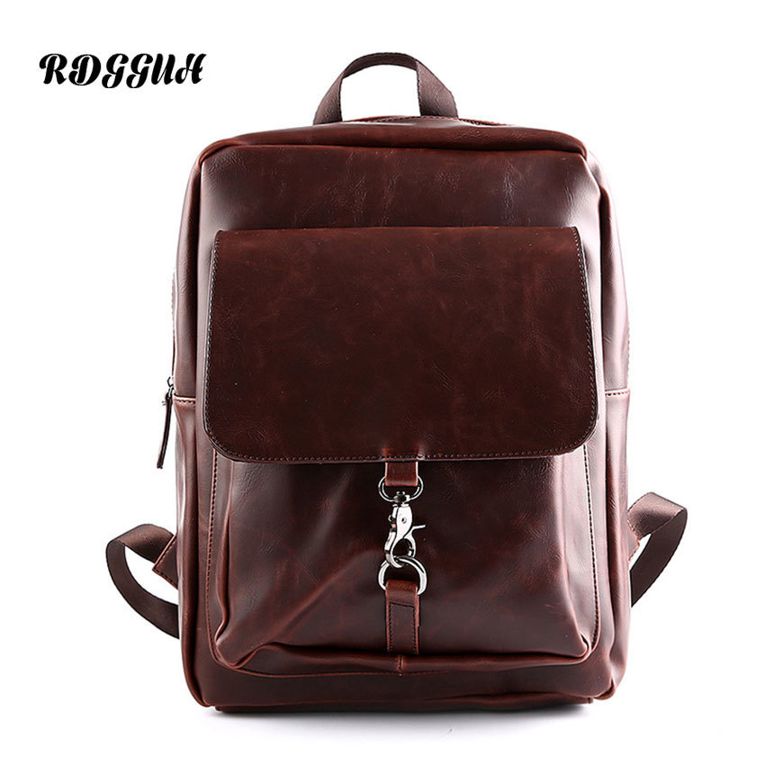 RDGGUH Male Fashion Backpack Male Travel Backpack Mochilas School Mens Leather Business Bag Large Laptop Shopping Travel Bag male classic microfiber leather backpack