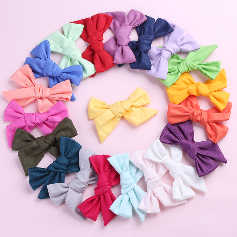 36pc/lot 2019 Solid Cotton Bow Headband For Girls Hair Bows Kids Elastic Hair Bands Girls Birthday Party Gifts Hair Accessories