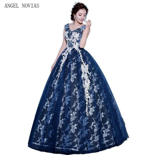 Angel Novias Real Long Ball Gown Navy Blue Prom Dresses 2018-in Prom ... 5366c2cacae5