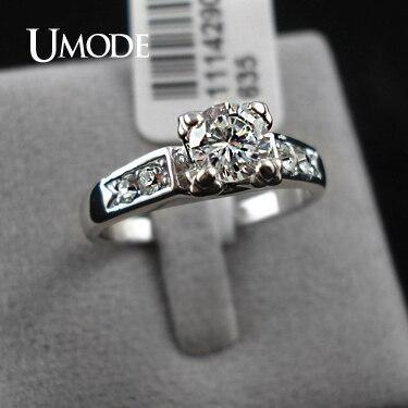 UMODE Блеск! Обручальное кольцо с покрытием из белого золота и 4 фианитами 0,5к JR0006B