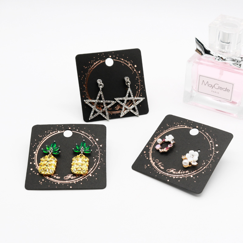 100pcs/lot Kraft Jewelry Card for Earring Black Flower Customize Logo Printing Vintage Classic Hang Tag Jewelry Displays image