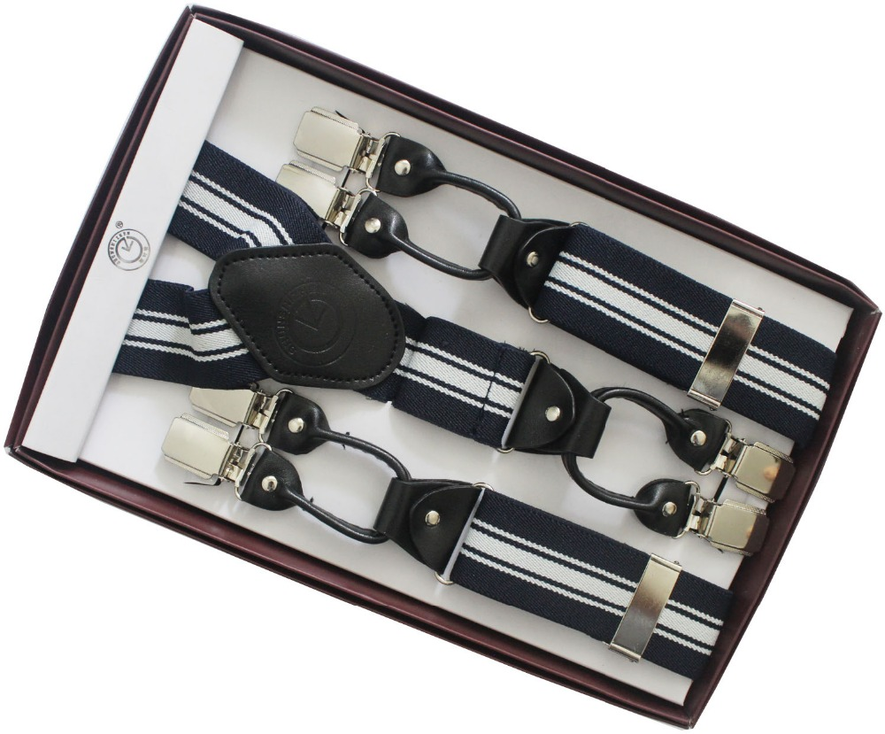 2018 New Mens Adult 3.5cm Navy White Striped 6 Clips Jacquard Braces For Mens With 120cm Length For Taller Father Gifts