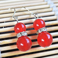 Handmade chalcedony gourd earring multicolor red and blue small commodities earrings drop earring