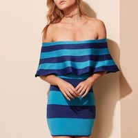 2018 New Fashion Elegant Navy And Light Blue Striped Sexy Off The Shoulder Wholesale Women Celebrity Bandage Dress