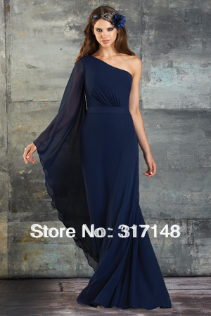 Fn136 New Style Full Length Navy Blue One Shoulder Long Sleeve Bridesmaid Dress Gowns Chiffon Dress Catsuit Dress Up Prom Girldress Open Aliexpress,Garden Wedding Mother Of The Groom Dresses For Summer Outdoor Wedding
