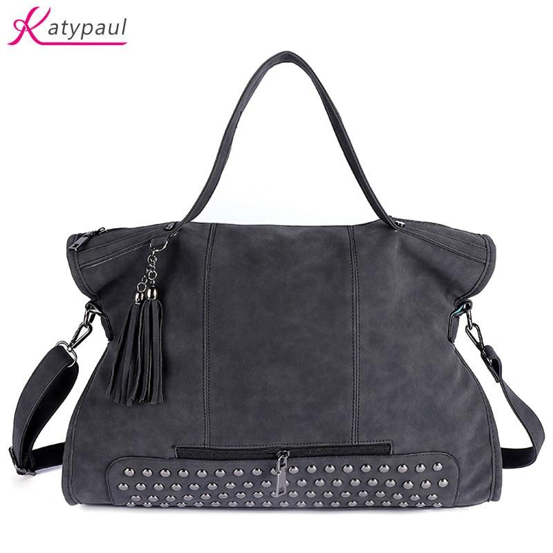 Rivet Nubuck Leather Women handbags Luxury Famous Brands Designer Women Messenger Bags Bolsa Feminina Fringed Suede Shoulder Bag